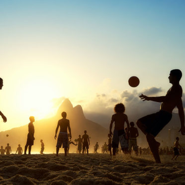 Sunset Silhouettes Playing Altinho Futebol Beach Football Brazil